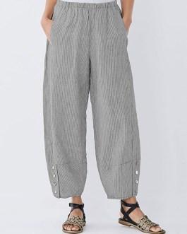 Elastic Waist Striped Wide Legged Casual Loose Pants