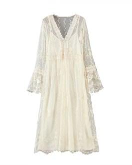 Elegant Lace Butterfly Embroidery Stylish Midi Dress