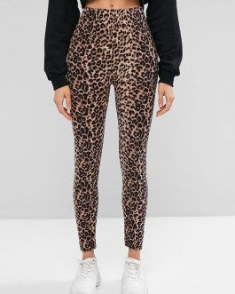 Leopard Print Skinny Streetwear Pants Trouses