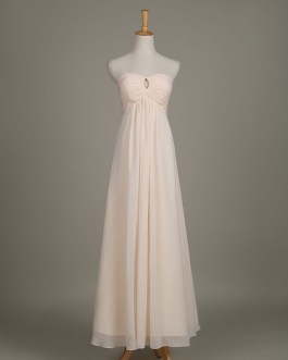 Long Strapless Sweetheart Cut Out Chiffon A Line Wedding Party Bridesmaid Dress