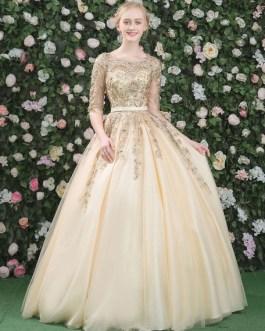 Luxury Lace Embroidered Beading Keyhole Half Sleeve Floor Length Princess Quinceanera Dresses