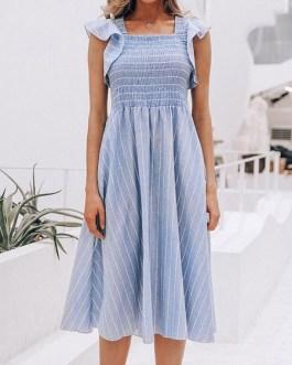 Sleeveless Stripes Square Neck Ruffles High Low Design Polyester Knee Length Dress