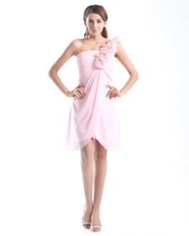 One-Shoulder Knee-Length Flower Chiffon A-line Bridesmaid Dress