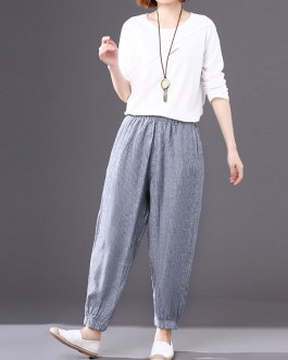 Solid Color Elastic Waist Loose Casual Pants