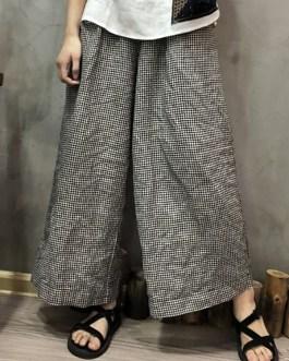 Stripe Elastic Waist Pockets Loose Wide Leg Pants