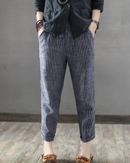 Striped High Waist Long Harem Pants Loose Trousers