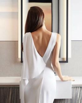 V Neck Mid Calf Ruffles Sexy Strap Elastic Bodycon Dress