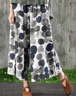 Wide Leg Cotton Polka Dot Printed Pockets Trouser Pants