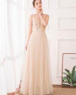 A Line V Neck Chiffon Sleeveless Floor Length Pleated Party Prom Dresses