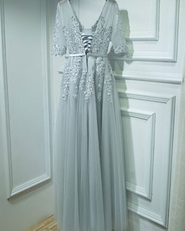 A Line V Neck Tulle Half Sleeves Floor Length Sash Party Prom Dresses