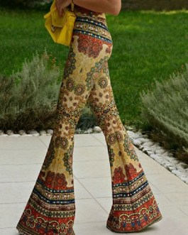 Boho Bell Bottom Pants 70s Printed Flare Trousers