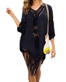 Casual Hollow Swimwear Cover-ups Beach Dress