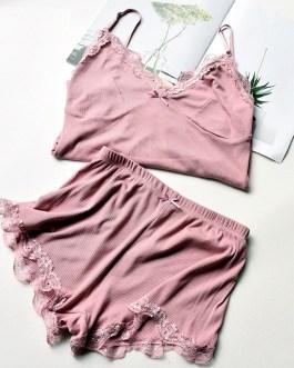 Cotton Lace Sleeveless Sling and Shorts Sleepwear
