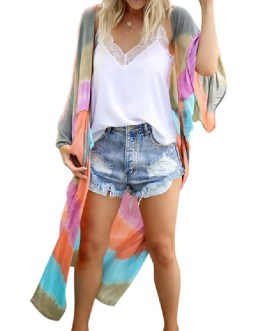 Color Block Long Sleeves  Sexy Swimming Suits Cover Ups