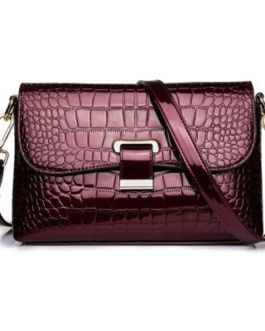 PU Leather Crocodile Pattern Tote Bag Lock Shoulder Messenger Bags