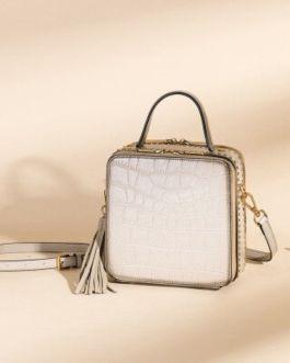 Crocodile Pattern  Genuine Leather Shoulder Bag with Tassel