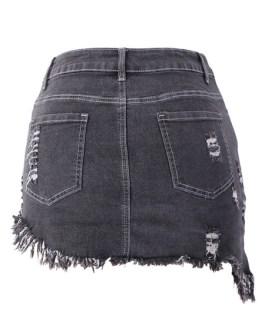 Denim Skirt Self Fringe Irregular Hem Bottoms