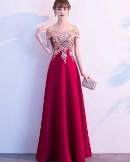 Evening A Line Off The Shoulder Floor Length Short Sleeves Zipper Sequins Social Party Dresses