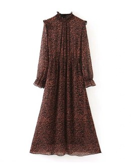 Fashion Leopard Print Long Sleeve Vintage Dress