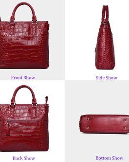 High Quality Crocodile Pattern Genuine Leather Bag