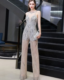 Jewel Neck Matte Satin Floor Length Beaded Formal Party Evening Dresses