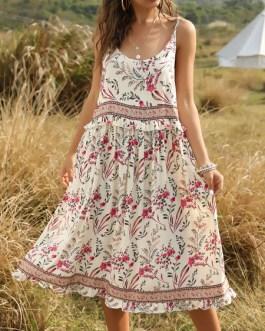 Jewel Neck Sleeveless Floral Print Backless Beach Dress