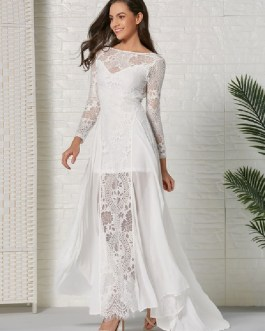 Lace Dresses Long Sleeves Backless Chiffon Sexy Dresses