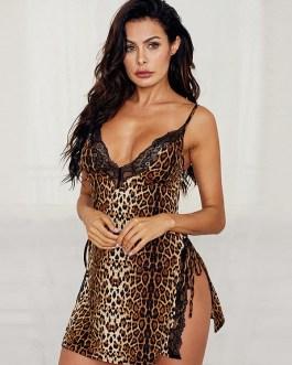 Leopard Spaghetti Strap V-Neck Nightgown