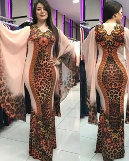 Long Bodycon Dresses Bell Sleeves Leopard Print V Neck Stretch Party Dress