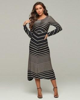 Sexy Stripe Stitching Evening Skinny Dress