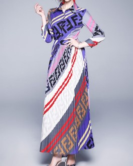 Maxi Dresses Long Sleeves Printed Buttons High Low Design Polyester Floor Length Dress