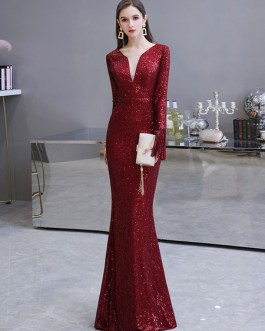 Mermaid Jewel Neck Sequined Floor Length Sequins Social Pageant Evening Dresses