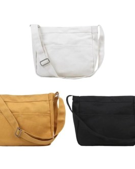 Casual Canvas Solid Color Large Capacity Shoulder Messenger Sling Bags