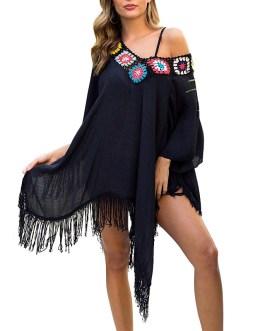 Off Shoulder Embroidery Bikini Cover-Ups Dress
