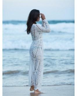 Open Stitch Beach Cover Up Lace Dress