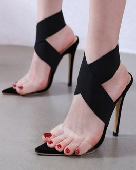 Open Toe Sandals Stiletto Heel Criss Cross Women's Shoes