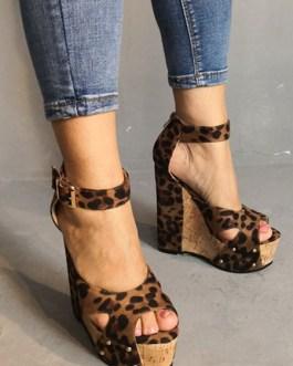 Peep Toe Leopard Print Platforms Wedge Heel Women's Shoes