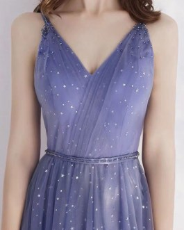 Prom A Line V Neck Lace Sleeveless Sash Pageant Dresses