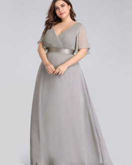 Prom A Line V Neck Sleeveless Floor Length Pleated Wedding Guest Dresses