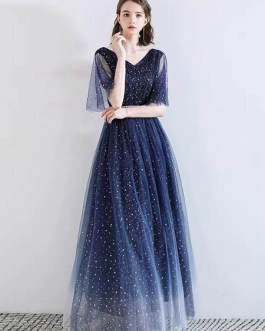 Prom V Neck A Line Half Sleeves Floor Length Sash Party Dresses