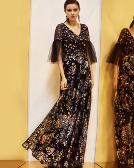 Round Neck Half Sleeve Floral Printed Floor Length Party Dress