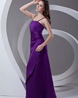 Satin Beading Floor-Length Bridesmaid Dress For Wedding
