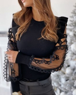 Sexy Tops Lace Sheer Long Sleeve Blouse