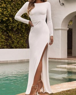 Solid Color Backless High Split Long Sleeves Casual Maxi Dress