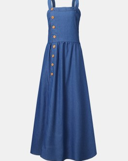 Solid Color Straps Button Sleeveless Denim Long Maxi Dress