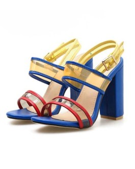 Stiletto Heel Sandals Open Toe Color Block Women's Shoes