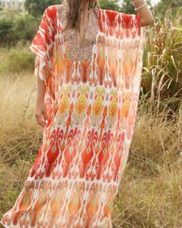 V Neck Chiffon Modern Geometric Tube Maxi Dress
