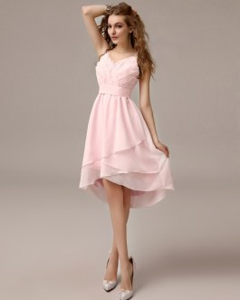 Asymmetrical Ruched Bridesmaid Dress With Straps Neck
