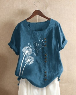 Casual Flower Printed Short Sleeve O-Neck Button Overhead T-shirt