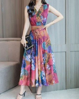 Chiffon Sleeveless V Neck Swing Floral Maxi Dress